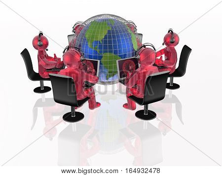 Communication - globe red mans and notebooks on white background 3D illustration.