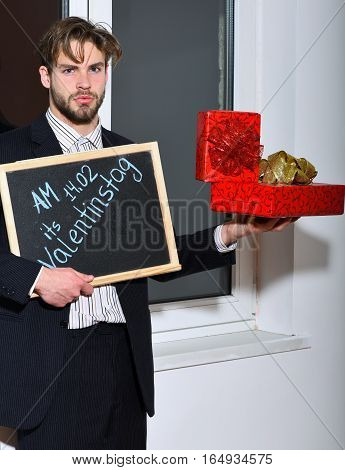 Bearded Businessman With Valentine Presents