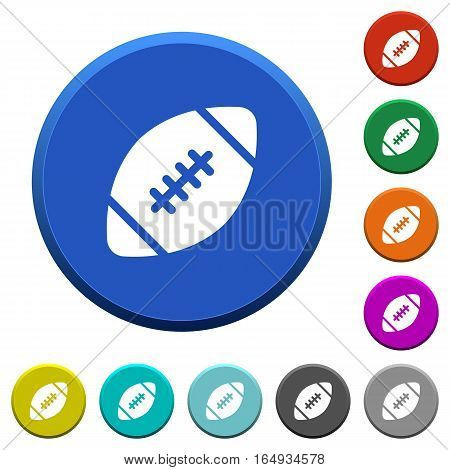 Rugby ball round color beveled buttons with smooth surfaces and flat white icons