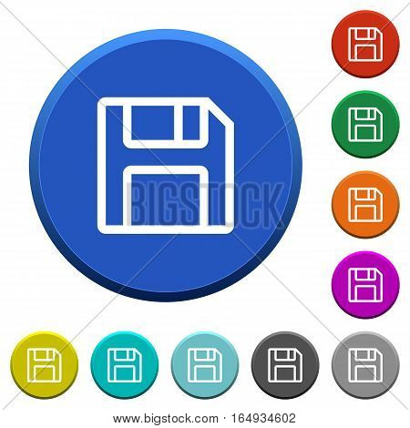 Save round color beveled buttons with smooth surfaces and flat white icons