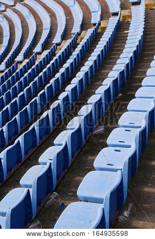 Empty Chairs On The Stadium Without Spectators