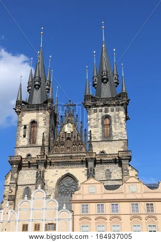 Church Of Our Lady Before Tyn From Old Town Square In Czech Repu