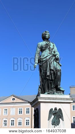 Large Statue Of The Great Composer Mozart In The Square