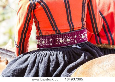 CAGLIARI, ITALY - May 1, 2016: 360 ^ Sant'Efisio Festival - Sardinia - detail of a traditional male Sardinian costumes