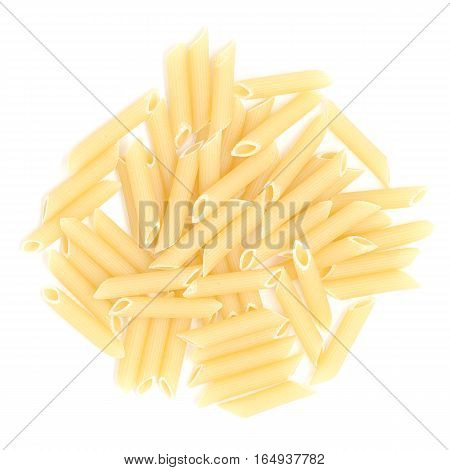 Pile of dry yellow pasta over isolated white background