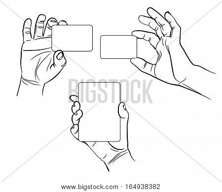 Hands in different interpretations. Vector illustration. Isolated on white background