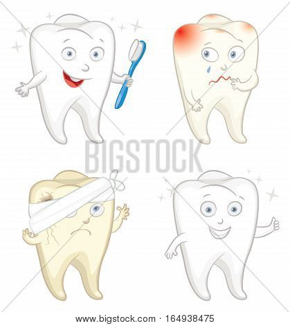 Funny tooth with toothbrush. Caries. Toothache. Vector illustration. Isolated on white background