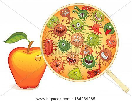 Dirty fruit, under the microscope. Vector illustration. Isolated on white background