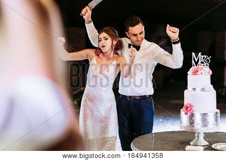 Bride In The Evening Dress With Her Groom