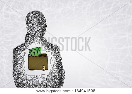 Drawn silhouette of business person and wallet inside chest