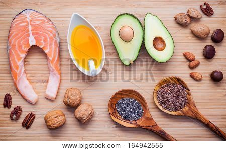 Selection Food Sources Of Omega 3 And Unsaturated Fats. Super Food High Vitamin E And Dietary Fiber