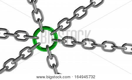 Chain Connection with Green Ring Element 3d Rendering