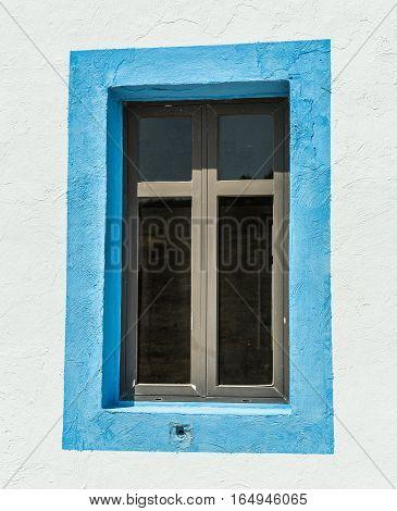 Window of Old Prophet Elias Church, Greece