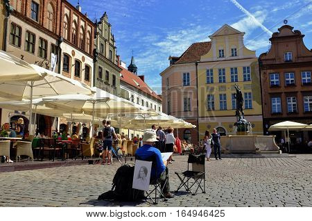 Summer afternoon on the main square in the Poznan, Poland Old Town in 2015