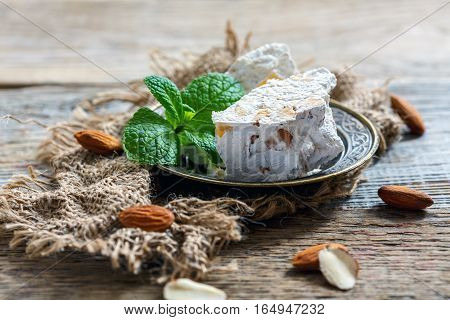 Sweet Almond Nougat With Candied Orange And Mint.
