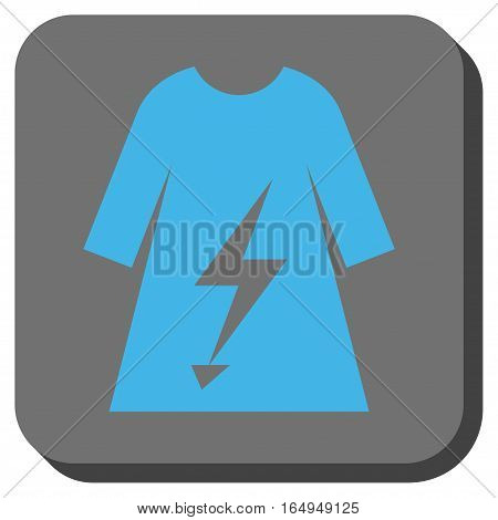 Electric Power Lady Dress toolbar button. Vector pictograph style is a flat symbol in a rounded square button blue and gray colors.