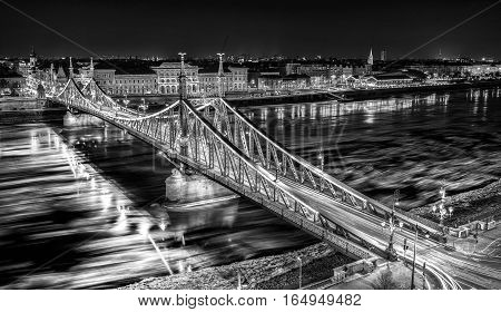 Ice flowing on river Danube in Budapest Hungary