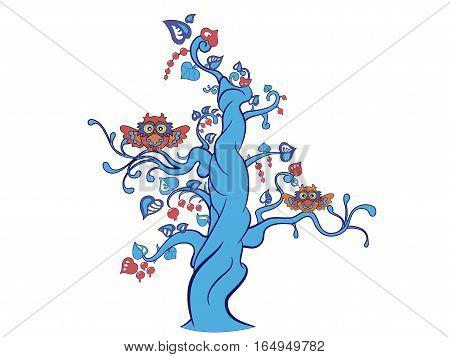 Fantasy tree with two funny owls. Colored version. Vector image with layers. You can switch off the owls or leafs and berries and recolor all elements as you need.