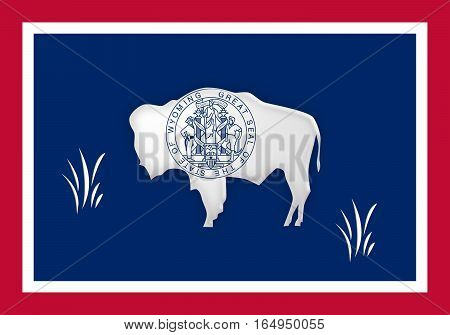 US State Background: 3d illustration of Wyoming Flag With Grass