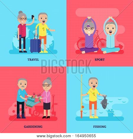 Leisure activity flat concept with senior people in different sport physical and active situations vector illustration