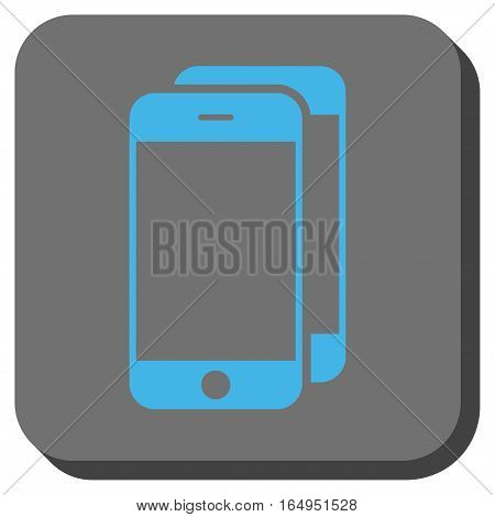 Smartphones interface button. Vector pictogram style is a flat symbol on a rounded square button blue and gray colors.