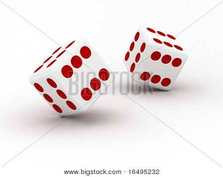 dice with 6 dots on all side representing absolute luck