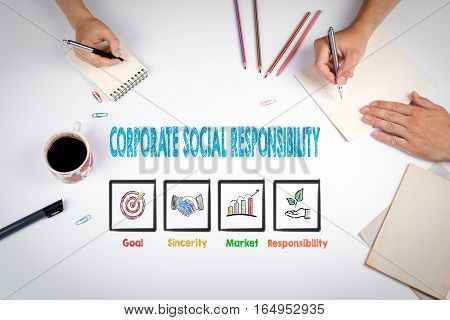 Corporate Social Responsibility. The meeting at the white office table.