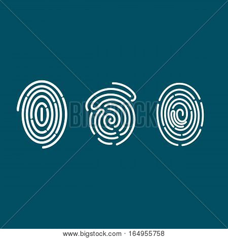 Fingerprint Types Detailed Set, Icons, Patterns, Arch, Loop and Whorl, Abstract, Vector Illustration EPS 10