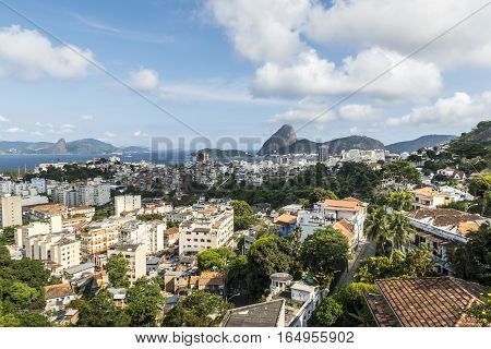Aerial view of cityscape the Sugarloaf mountain Atlantic ocean Botafogo bay districts of Rio de Janeiro Brazil