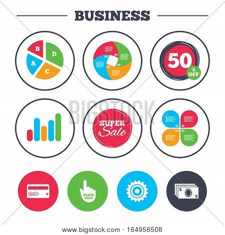 Business pie chart. Growth graph. ATM cash machine withdrawal icons. Insert bank card, click here and check PIN, processing and get cash symbols. Super sale and discount buttons. Vector