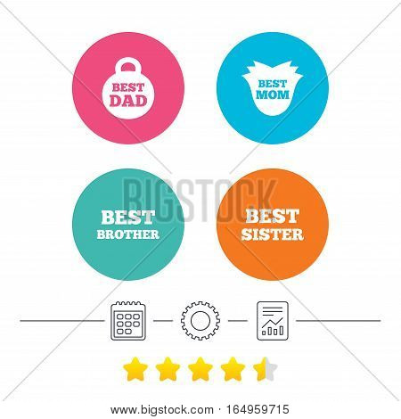 Best mom and dad, brother and sister icons. Weight and flower signs. Award symbols. Calendar, cogwheel and report linear icons. Star vote ranking. Vector