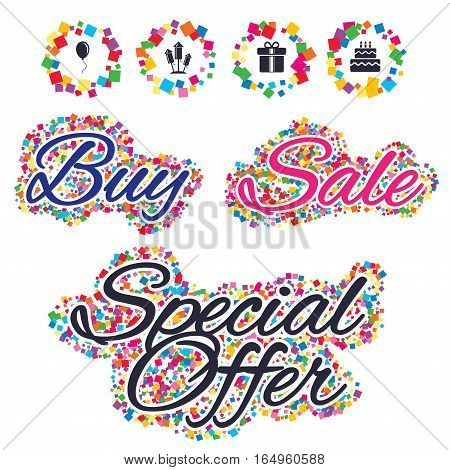 Sale confetti labels and banners. Birthday party icons. Cake and gift box signs. Air balloons and fireworks rockets symbol. Special offer sticker. Vector