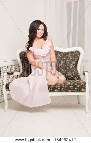 Emotional Attractive Young Woman Posing In A Boudoir