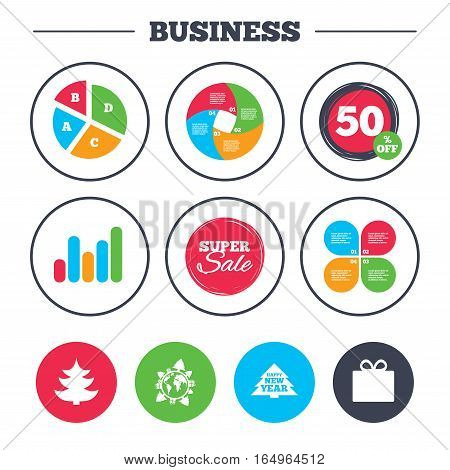 Business pie chart. Growth graph. Happy new year icon. Christmas trees and gift box signs. World globe symbol. Super sale and discount buttons. Vector