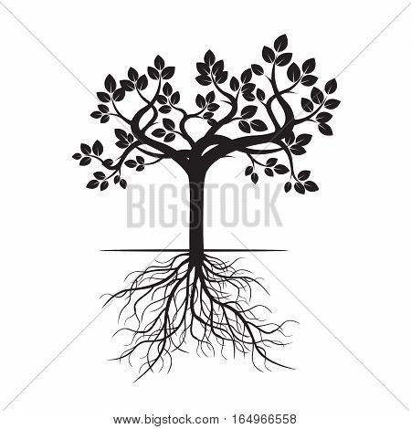 Black Tree with Roots. Vector Illustration and graphic element.
