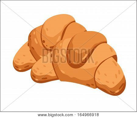 Fresh croissant isolated on white background cartoon vector illustration. Bakery product, fresh pastry food icon. Sweet dessert, tasty croissant pastry logo, natural food, bakery shop design element.