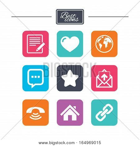 Mail, contact icons. Favorite, like and internet signs. E-mail, chat message and phone call symbols. Colorful flat square buttons with icons. Vector