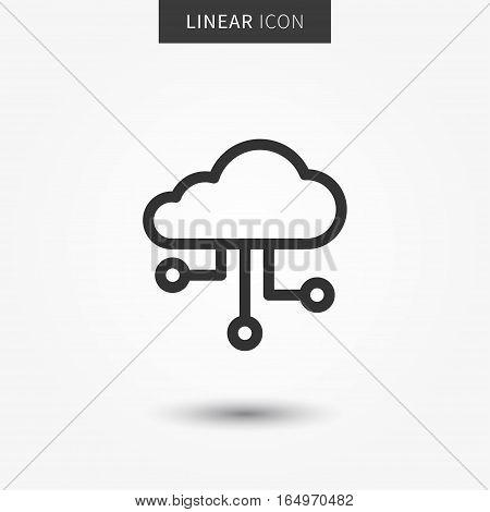 Cloud storage icon vector illustration. Isolated remote storage device symbol. Wireless cloud storage line concept. Web hosting graphic design. Cloud server outline symbol for app.