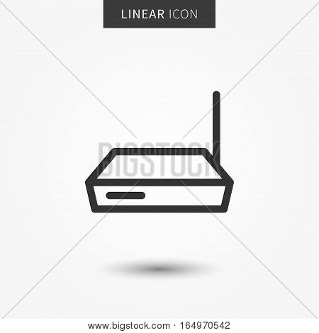 Router icon vector illustration. Isolated connection device symbol. Wireless modem line concept. Web hub graphic design. Wifi router outline symbol for app. Router switch pictogram on grey background.
