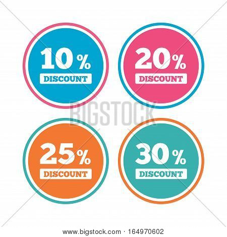 Sale discount icons. Special offer price signs. 10, 20, 25 and 30 percent off reduction symbols. Colored circle buttons. Vector