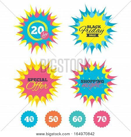 Shopping night, black friday stickers. Sale discount icons. Special offer price signs. 40, 50, 60 and 70 percent off reduction symbols. Special offer. Vector