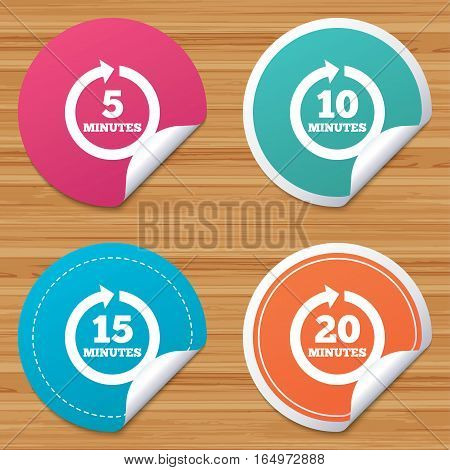 Round stickers or website banners. Every 5, 10, 15 and 20 minutes icons. Full rotation arrow symbols. Iterative process signs. Circle badges with bended corner. Vector