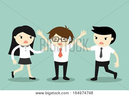 Business concept, Businessman trying to stop a fight between two coworkers. Vector illustration.