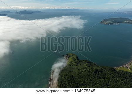 Avacha Bay in Pacific Ocean on the southeastern coast of Kamchatka Peninsula. View from the helicopter.