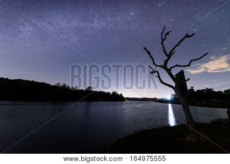 milky way star on the sky over lake view