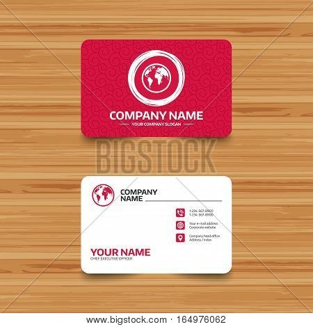 Business card template with texture. Globe sign icon. World map geography symbol. Phone, web and location icons. Visiting card  Vector