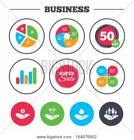 Business pie chart. Growth graph. Helping hands icons. Financial money savings, family life insurance symbols. Diamond brilliant sign. Fire protection. Super sale and discount buttons. Vector