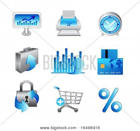 Business Office Internet Icons #2 - Light Blue Theme - Vector set with no transparency