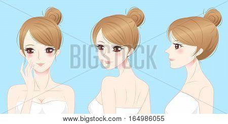 cartoon beauty skincare woman smile and enjoy