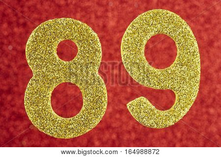 Number eighty-nine yellow color over a red background. Anniversary. Horizontal
